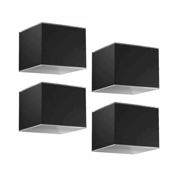 Solar wandlampen zwart set 4 stuks