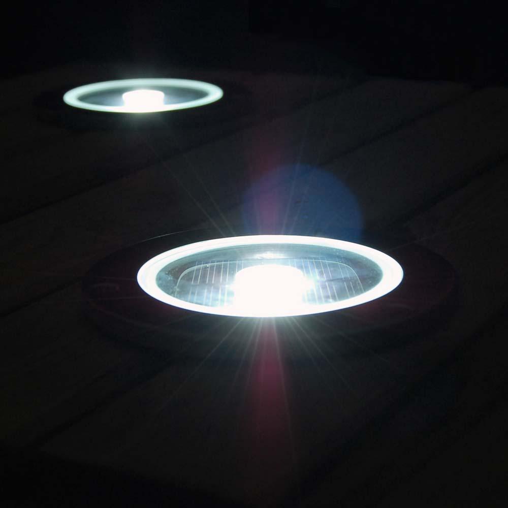 Spot solaire au sol LED rond chrome - Eclairage terrasse