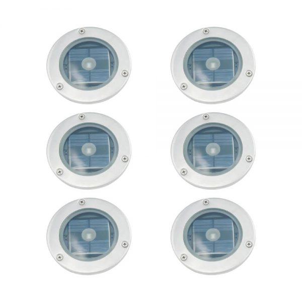 Spot solaire au sol LED rond chrome éclairage de terrasse 6 pièces