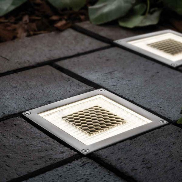Spot solaire au sol LED carré - Design Premium - Éclairage de terrasse