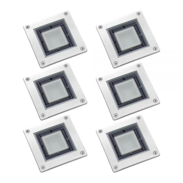 Spot solaire au sol LED carré en acier inoxydable éclairage de terrasse 6 pièces