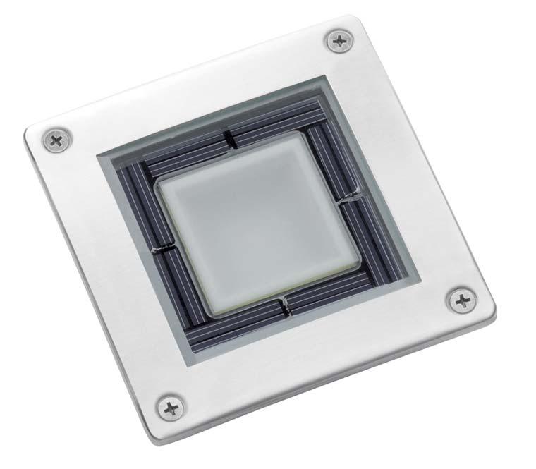 Spot solaire au sol LED carré chrome - Éclairage de terrasse