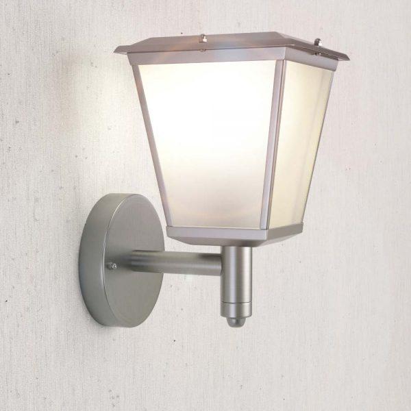 Lampe murale solaire lanterne - chrome