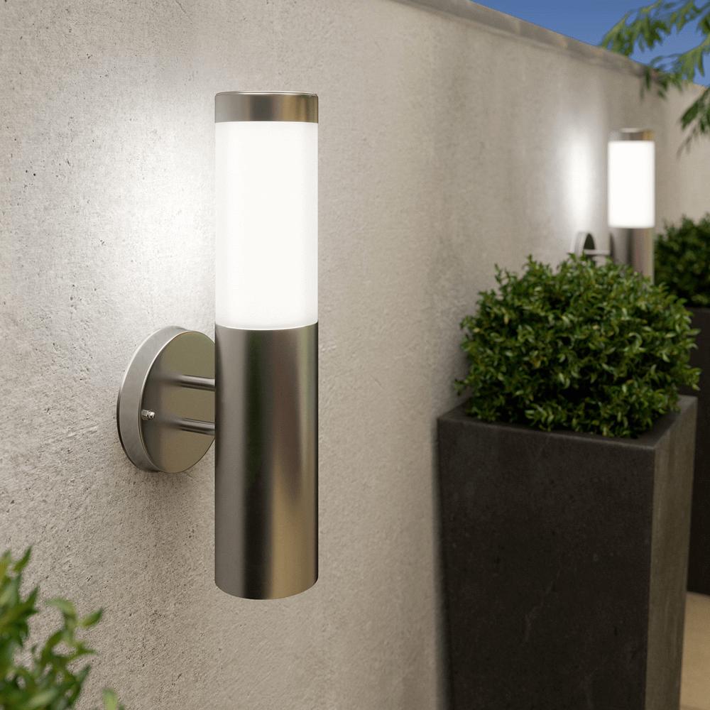 Cylindre de lampe murale solaire - chrome