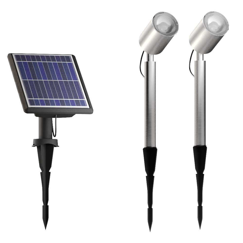 Spots de jardin solaires LED chrome - Design - lot de 2 pièces