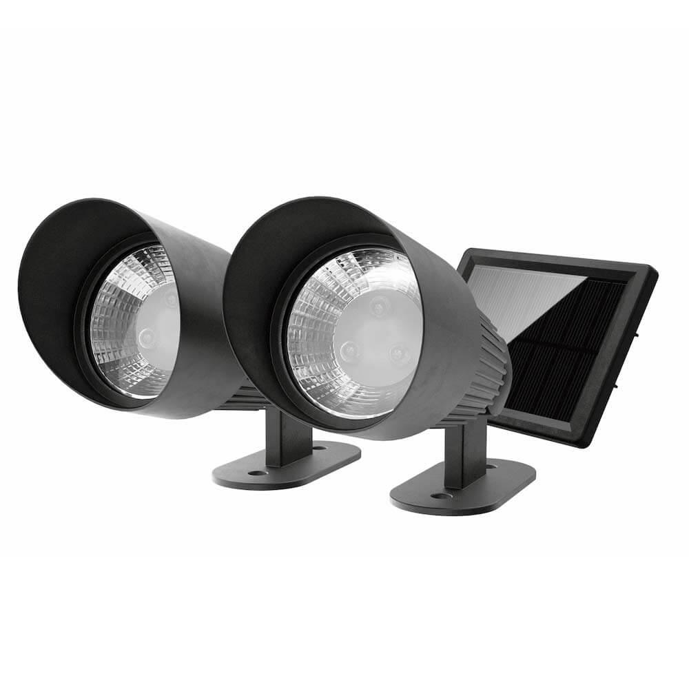 Spots de jardin solaire LED noir - Projecteurs - lot de 2 pièces