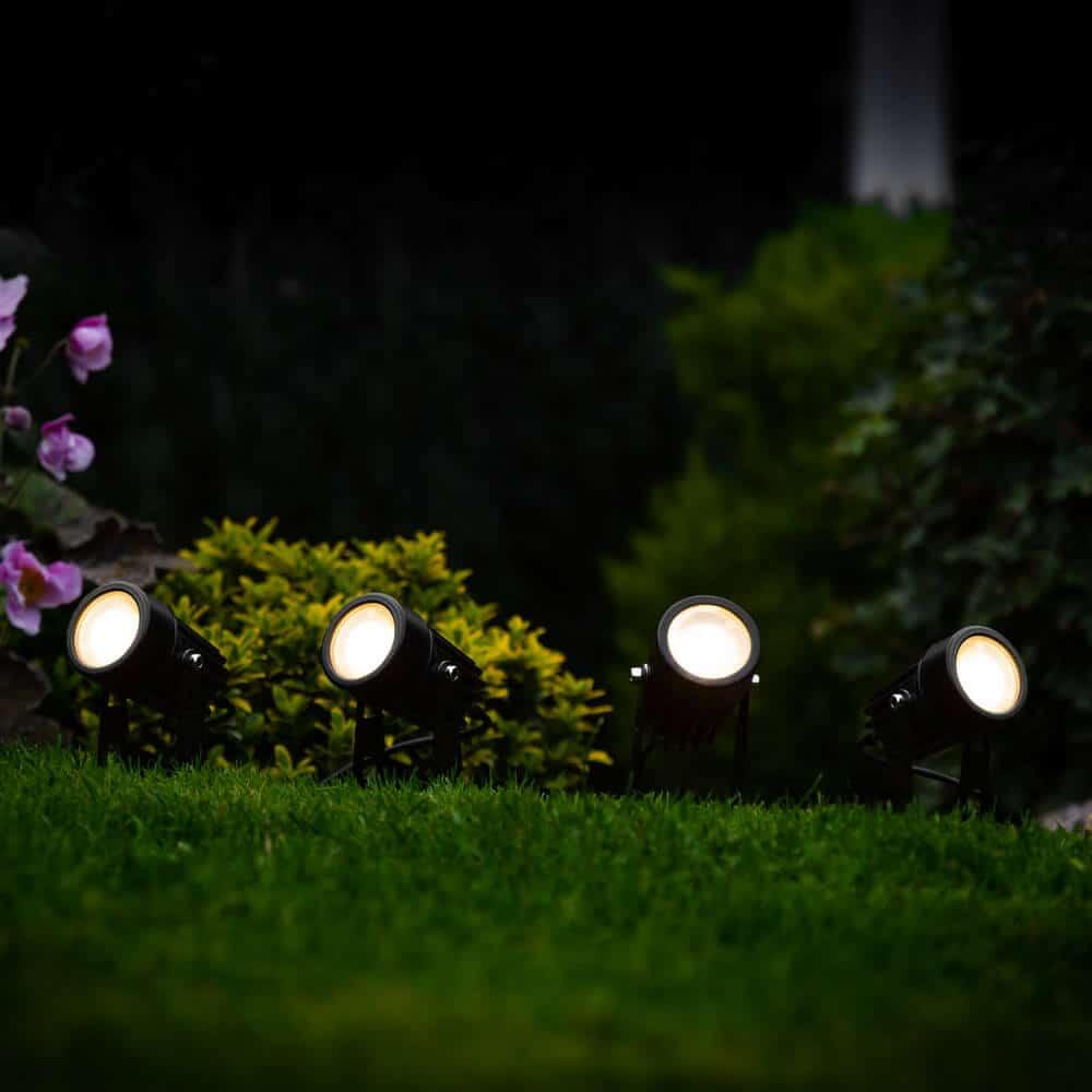 Spots de jardin solaire LED noir - Éclairage de jardin - lot de 4 pièces